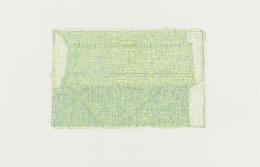 Julia Fish.Trace 4: after Threshold, SouthWest - Two [ spectrum: green ],2010. Ink on UV paper, 12 x 18 inches, framed.