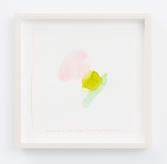 Spencer Finch.Color Notes (Summer), I,2020. Watercolor on paper,set of 25 notes, 7 x 7 inches, paper (each), 9 x 9 inches, frame (each).