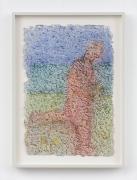 Richard Artschwager.Running Man,2011. Pastel on handmade paper, 17 x 11 inches.