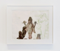 Nancy Spero.Lilith,1985. Handprinting and printed collage on paper, 19.5 x 24.5 inches, framed.