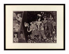 Gladys Nilsson, Camp Shopalong, 1997. Soft-ground and lift-ground etching, aquatint, 25.75 x 33 inches, framed. Edition of 80.