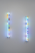 Goldberg Variations 4 and 5, 2016. Fluorescent fixtures, filters, 63 x 34 inches.