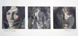 Heads/Bodies 1967, Print with pastel, 2 x 2 inches, each, 8.75 x 10.938 inches, matted.