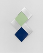 Richard Rezac, Untitled (15-04), 2015. Painted maple wood and aluminum, 25.5 x 15.5 x 1.75 inches.