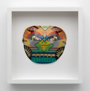 Karl Wirsum, Mask (Multicolor), c. 1974. Acrylic on acetate, 14.5 x 14 inches.
