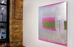 Installation view at Rhona Hoffman Gallery, Judy Ledgerwood, Basement Love, 2000