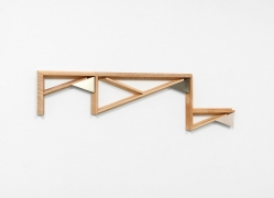 Untitled (14-07), 2014.Maple wood and nickel-plated aluminum, 46.5 x 12.75 x 1.75 inches.