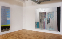 Installation view at Rhona Hoffman Gallery, Judy Ledgerwood, Basement Love, 2000