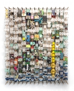 Jacob Hashimoto.  Of Self Destroying, Transitory Things, 2020.  Wood, acrylic, bamboo, paper and Dacron, 57 x 46.25 x 8.25 inches.