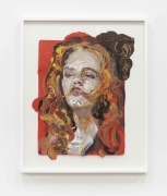 Natalie Frank. Woman, Hair Eater III, 2019. Linen pulp on cotton base sheet, 27 3/4 x 21 1/4 inches.