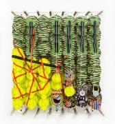 Jacob Hashimoto, The Dark Forest, 2017. Wood, acrylic, bamboo, paper and Dacron.