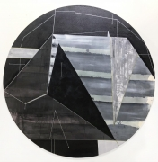 Distances Distances (#6 Gulf of Mexico-Extraction-Black), 2018, Acrylic on canvas, 60-inch diameter.