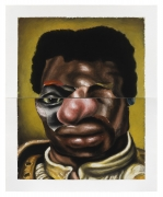 Nathaniel Mary Quinn. One Eye Open, 2020. Black charcoal, gouache, soft pastel on Coventry vellum paper, 16 x 13 inches (diptych, each sheet 8 x 13 inches).