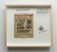 December 8, 2014.New York Post newspaper, December 9, 1980; stone from Ramallah, West Bank 1987 intifada, 25.25 x 28.25 x 3 inches.