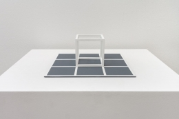 Sol Lewitt. Cube,1965. Painted steel on aluminum base, 10 x 10 inches, edition of 25.