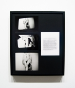Vito Acconci.Conversions III (Association, Assistance, Dependence),1970-1971. 3 gelatin silver prints and 1 typewritten sheet mounted on board and window matte, 26 x 22 inches, framed.