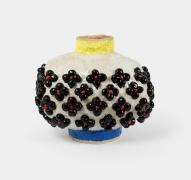 Oval with Black Flowers,2020, Glazed ceramic