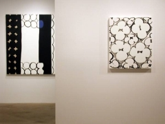 Exhibition view at Rhona Hoffman Gallery, Judy Ledgerwood, New Paintings, 2003
