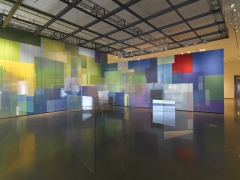 Painting Air, 2012. 112 glass panels, hardware, and paint, Dimensions variable.