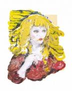 Natallie Frank. Woman, Hair Eater VIII,2019. Linen pulp paint on cotton base sheet, 34 x 27 inches.