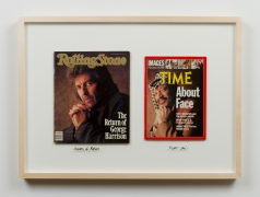 Abtal al Awda/Heroes of Revolution, 2014. Rolling Stone magazine from October 22, 1987 with George Harrison on the cover paired with Time Magazine from December 26, 1988 with Yasser Arafat on the cover, 21.125 x 29.125 x 2 inches.
