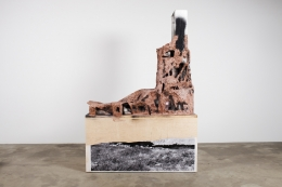 Jhukarjodaro, 2011. Clay, wire, wood, Styrofoam, black and white photograph, color photograph, paper, acrylic paint, leaves, feather, 94.25 x 23.125 x 84.125 inches.