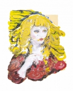 Natalie Frank.Woman, Hair Eater VIII, 2019. Linen pulp paint on cotton base sheet, 34 x 27 inches.