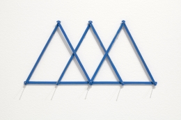 3 Small Mountains. Nepal, 2008. Seven pieces of painted wood, pencil texts, nails, 6 1/2 x 13 3/4 inches.