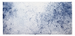 Anne Wilson.If We Asked about The Sky, 2020. Damask tablecloth, ink, hair embroidery, 60 x 108 inches (unframed).