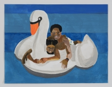 Derrick Adams.Petite Floater 25, 2020. Watercolor, ink, and fabric on paper collageon watercolor paper, 8.5 x 11 inches.