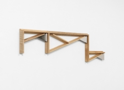 Untitled (14-07), 2014, Maple wood and nickel-plated aluminum, 46.5 x 12.75 x 1.75 inches.