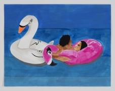 Derrick Adams.Petite Floater 26, 2020. Watercolor, ink, and printed vinyl shelf lineron watercolor paper, 8.5 x 11 inches.