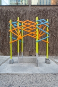 Glen Elder, 2017-18.Painted poplar, cast aluminum and welded aluminum, 25 feet x 120 inches x 48 inches (installation).