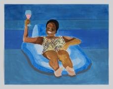Derrick Adams.Petite Floater 22, 2020. Watercolor, ink, and printed vinyl shelf lineron watercolor paper, 8.5x 11 inches.