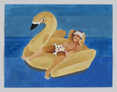 Derrick Adams.Petite Floater 29, 2020. Watercolor, ink, and printed vinyl shelf liner on watercolor paper, 8.5 x 11 inches.