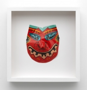 Karl Wirsum, Mask (Red), c. 1974. Acrylic on acetate, 14.5 x 14 inches.