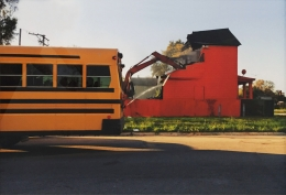 Color(ed) Theory Series: Flamin' Red Hots (Demolition Bus), 2018. Color Photograph, 21.125 x 31.125 inches, framed, 19.625 x 29.625 inches, unframed, Edition 2 of 6.