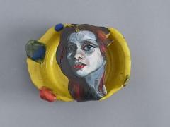 NATALIE FRANK,Woman, Yellow, 2021, Glazed ceramic,3.5 x 7 x 5.5 inches, 8.9 x 17.8 x 14 cm