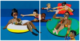 Derrick Adams. Floater 93, 2020.Acrylic paint and fabric on paper,50 x 100 inches diptych (50 x 50 inches each).