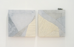 Martha Tuttle.Let Rocks be your Guide,2019. Wool, linen, pigment, slag and aluminum. Diptych, 12 x 12 inches (each).