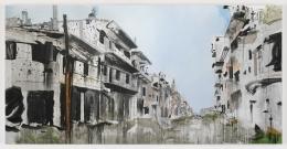 Brian Maguire.Aleppo 4, 2017. Acrylic on canvas, 78.5 x 157.5 inches.