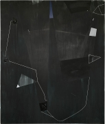 Extraction, Takes Courage for a Body to Get Down There, 2020. Acrylic and graphite on canvas, 96 x 80 inches.