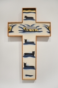 Roger Brown, Blizzard Crucifix, 1975. Oil on canvas with artist frame, 30.25 x 18 inches.