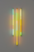 Spencer Finch.Haiku (Fall), 2020. 3 fluorescent fixtures and filters, 48 x 16 inches.