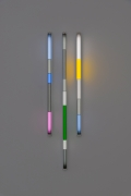 Spencer Finch.Haiku (Summer),2020. 3 fluorescent fixtures and filters, 48 x 16 inches.