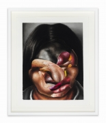 Screw-face, 2020. Black charcoal, gouache, soft pastel, oil pastel, oil paint, paint stick on Coventry vellum paper, 16 x 13 inches.