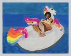 Derrick Adams.Petite Floater 28, 2020. Watercolor, ink, and printed vinyl shelf liner on watercolor paper, 8.5 x 11 inches.