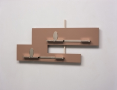 Richard Rezac,Untitled (05-02), 2005. Nickel-plated steel, painted wood, and aluminum, 15 x 30 x 3 3/4 inches.