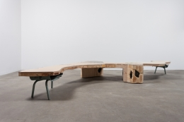 A Modest Inquiry into the Nature of Witchcraft, 2015. Salvaged furniture from closed Chicago public schools, 3 feet5 inchesx 5 feet3 inchesx 1 foot4 inches.