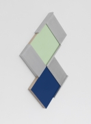 Untitled (15-04), 2015. Painted maple wood and aluminum, 25.5 x 15.5 x 1.75 inches.